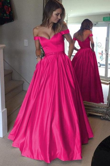 Charming Evening Dress,Off Shoulder Prom Dress,Long Simple Beaded Evening Gown F2008