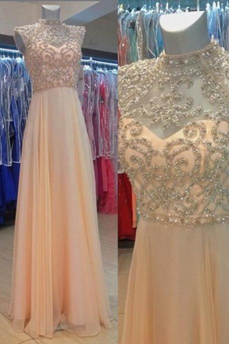 Charming Prom Dress,Elegant Prom Dress,Long Evening Dress,Sleeveless Beaded Prom Dresses,Homecoming Dresses F2025
