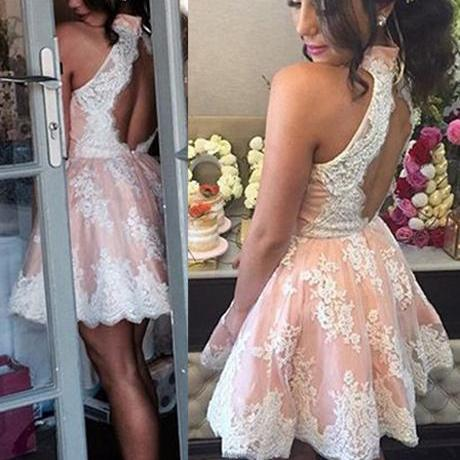 Tulle Prom Dress,Lace Appliques Prom Dresses,Short Prom Dress,Prom Gown F2303
