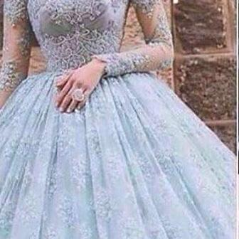 Charming Prom Dress,Elegant Full Sleeve Ball Gown Prom Dresses,Appliques Lace Formal Party Gown,Evening Dress F2648