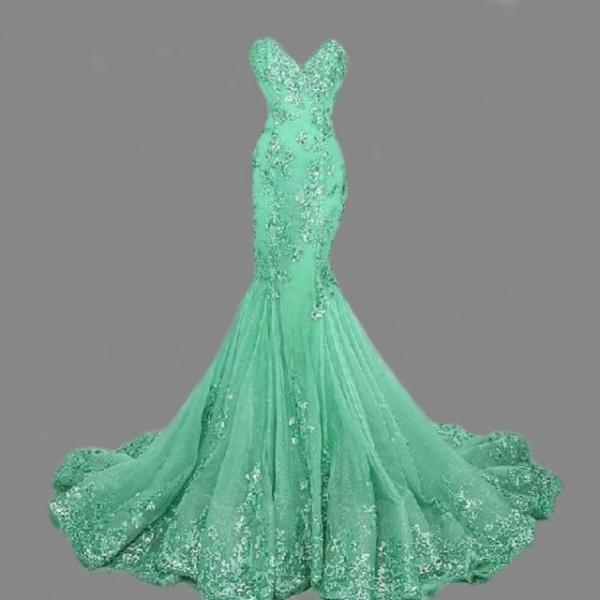 Charming Prom Dress,Elegant Mermaid Lace Prom Dresses,Long Prom Dress,Sleeveless Sequins Evening Dress F2649