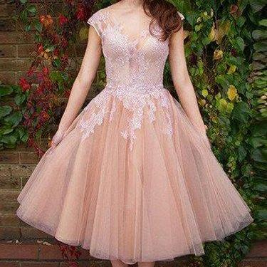 Elegant Prom Dress,Tea Length Prom Party Dress, Cap Sleeve Evening Dress, Short Prom Gown,Party Gown F2750