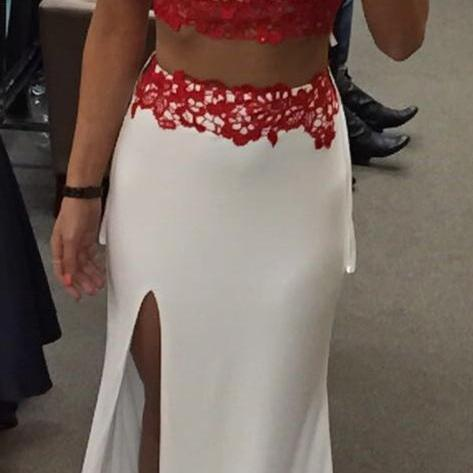Charming Prom Dress,Sexy Two Piece Prom Dress,Red Lace Evening Dress,Side Slit Prom Dresses,Formal Gown F3128