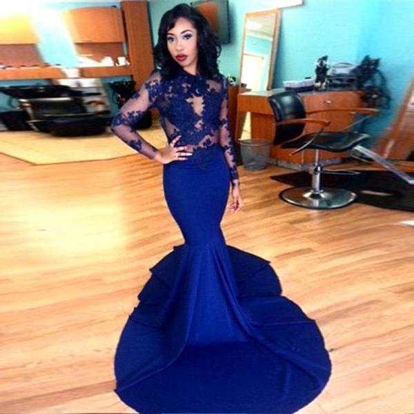 Charming Prom Dress,Long Sleeve Appliques Evening Dress,Long Prom Dress,Mermaid Prom Dresses F3600