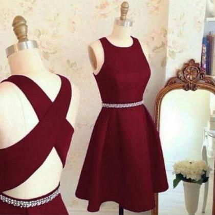 Charming Prom Dress,Burgundy Prom Dress,Elegant Prom Gowns,Short Homecoming Dress F3602