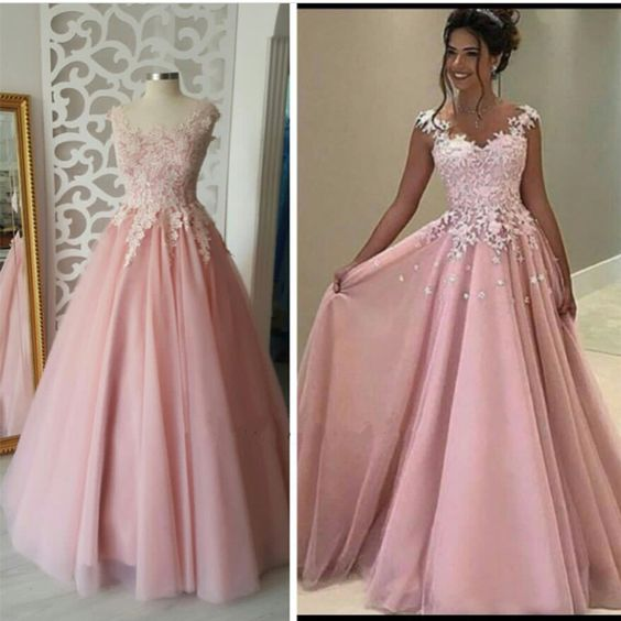 Charming Prom Dress,Long Appliques Evening Dress,Long Prom Dress,A Line Tulle Prom Dresses F3603