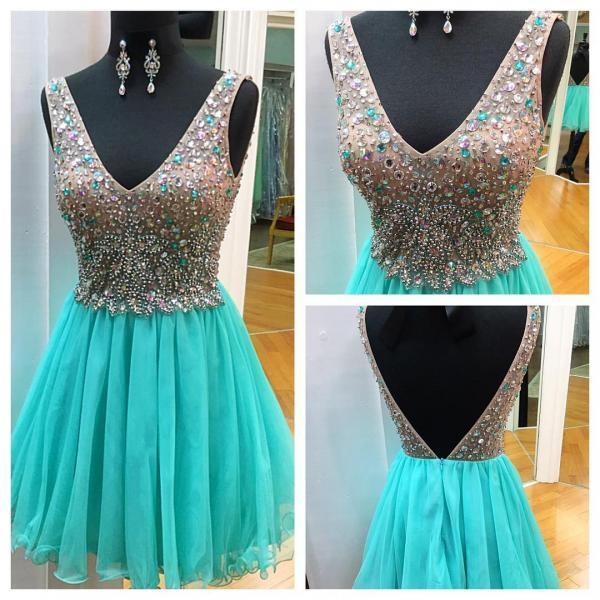 Charming Prom Dress,Tulle Homecoming Dress,Crystal Beaded Prom Gowns,Short Prom Dress F3723
