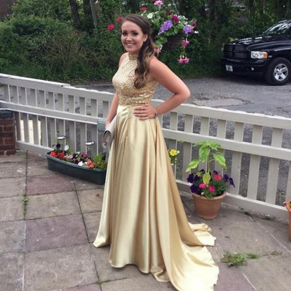 Charming Prom Dress, A Line Evening Dress, Beaded Evening Party Dresses, Sleeveless Prom Dress, Long Prom Dresses F4096