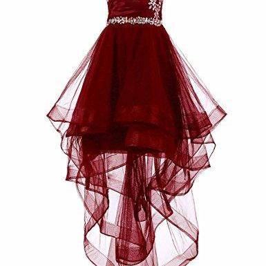 Charming Prom Dress, High Low Prom Dresses, Sleeveless Party Dress,Burgundy Tulle Prom Gown , Sexy Party Dress F4110