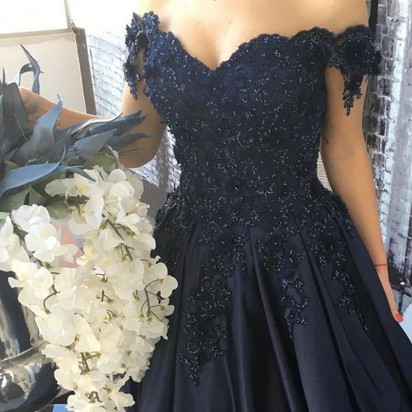 Appliques Ball Gown Prom Dress, Cap Sleeve Prom Dresses, Long Evening Dress, Women Dress