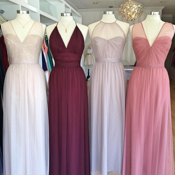 Simple Prom Dress, Long Evening Dress, Floor Length A Line Bridesmaid Dress