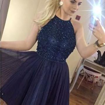 Navy Beaded Prom Dress, Tulle Prom Gown, Short Homecoming Dress