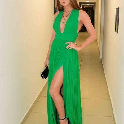 Sleeveless Long Prom Dress, Sexy Green Long Evening Dress Party Dress with Slit