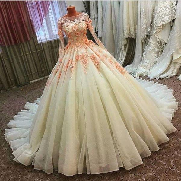 Gergeous Appliques Ball Gown Wedding Dresses, Sexy Long Sleeve Tulle Wedding Gown, Formal Bridal Dress