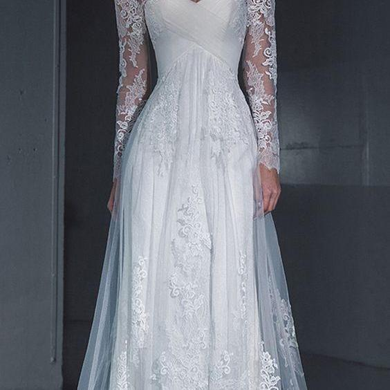 Charming Wedding Dress, Long Sleeve Formal Lace Wedding Dresses, 2019 Bridal Dresses