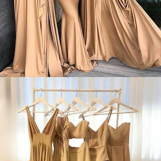 Sexy Sleeveless A Line Bridesmaid Dresses, Simple Long Evening Dress, Wedding Party Dress