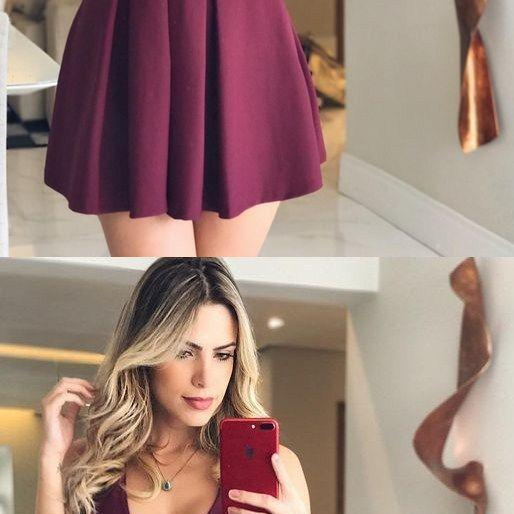 Sexy Sleeveless A Line Short Prom Gowns, Dark Burgundy Mini Cocktail Dress Party Gown