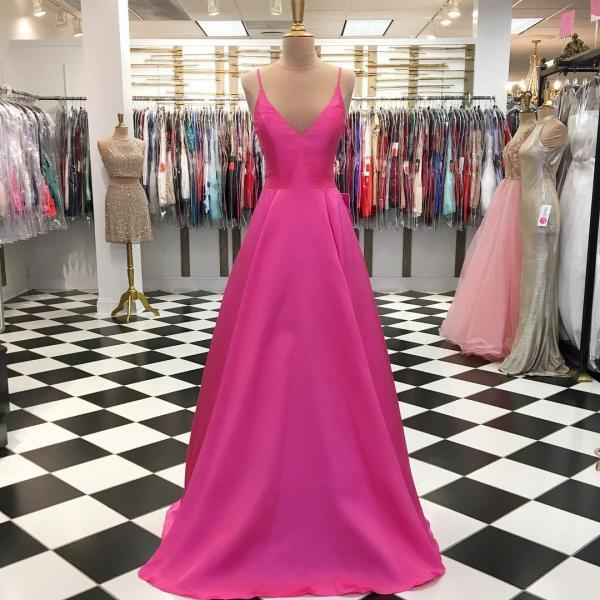 Simple V neck A Line Hot Pink Prom Dress, Long Evening Dress