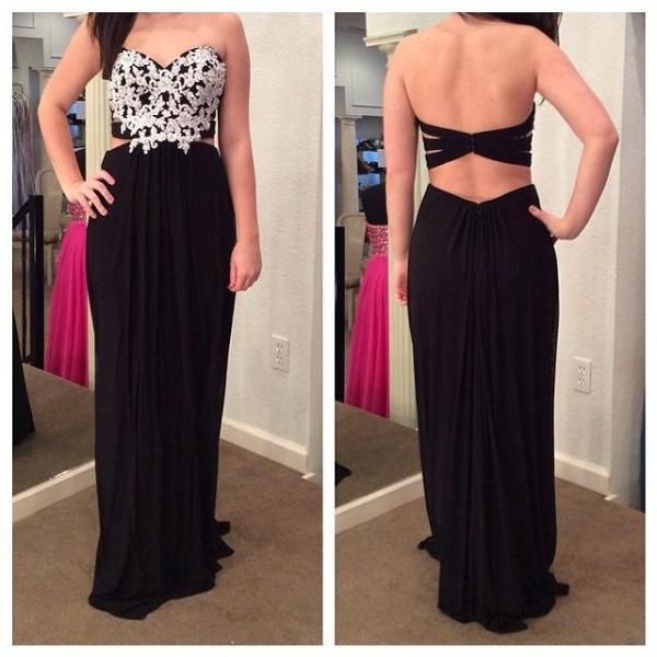 Long Prom Dresses,Sweetheart Sleeveless Backless Chiffon Applique Formal Gown Party Evening Dress F147