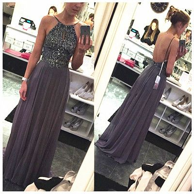 Long Prom Dress,Chiffon Grey Evening Dress,Sleeveless Beading Party Dresses,Backless Prom Dress F201