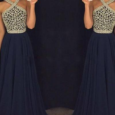 New Arrival Sleeveless Prom Dress,Simpe Open Back Prom Dresses,Chiffon Sexy Party Dress F1306