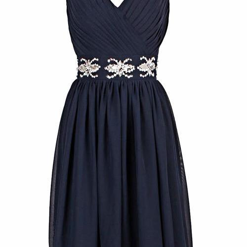 Charming Prom Dress,Simple Prom Gown,Short Homecoming Dress,Navy Party Dress,Prom Gown F1882