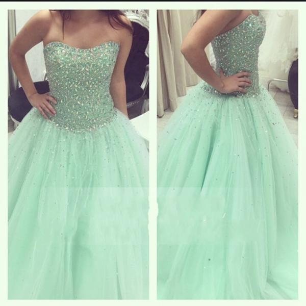 Charming Prom Dress,Ball Gown Prom Dresses,Long Prom Dress,Crystal Tulle Quinceanera Dresses F1882