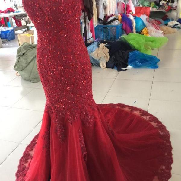 Charming Prom Dress,Red Appliques Prom Dress,Mermaid Prom Dresses,Sexy Evening Dress,Formal Evening Dresses F1883