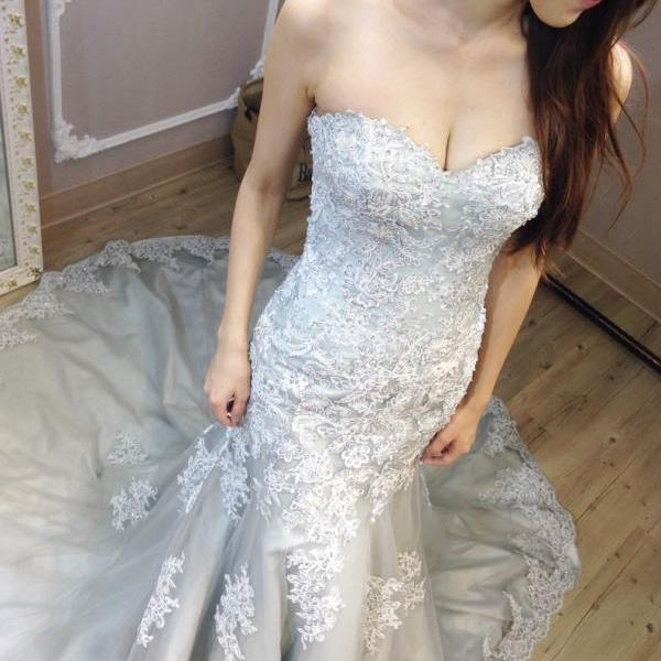 Charming Wedding Dress,Elegant Mermaid Wedding Dresses,Appliques Sleeveless Bridal Dresses F1884