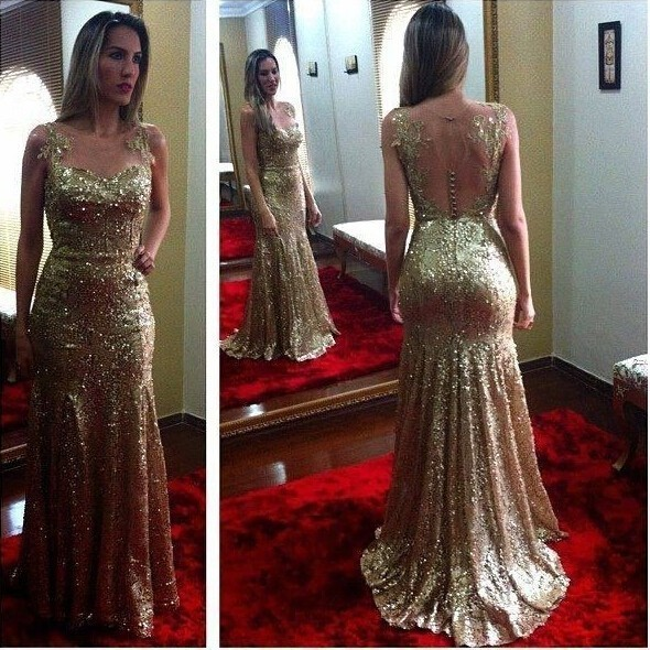 Strapless Prom Dresses,Gold Prom Dress,Modest Prom Gown,Sequins Prom Gowns,Sequined Evening Dress,Princess Evening Gowns,Sparkly Party Gowns F1907